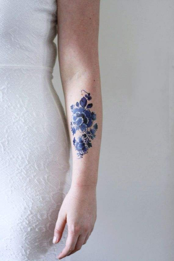 Floral temporal tatuaje / tatuaje temporal azul de por Tattoorary