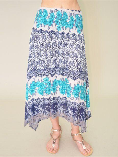 SHIRRED WAIST SKIRT - Flower Clothing - Gorgeous tropical holiday skirt -
