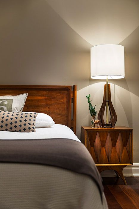 Stylish mid-century bedroom, by Collected Interiors
