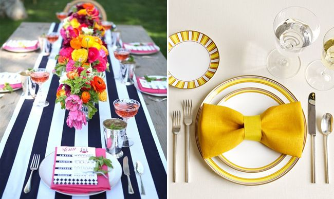 Yellow and white flowers with navy and white striped linen. Cute yellow bowtie napkin fold