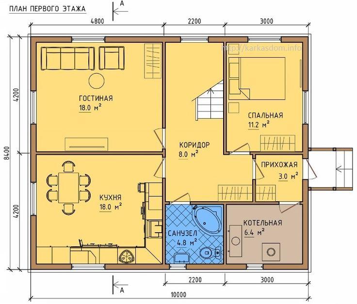 Планировка двухэтажного дома 8 на 8: варианты возведения и 85 лучших готовых проектов http://happymodern.ru/dom-8-na-8-planirovka-dvuxetazhniy/ Планировка первого этажа дома 8 на 10