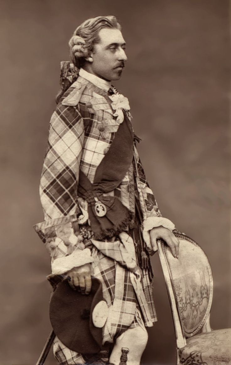Prince Arthur, Duke of Connaught and Strathearn in traditional Scottish dress. c.1875-80.  Seventh child and third son of Queen Victoria and Prince Albert.