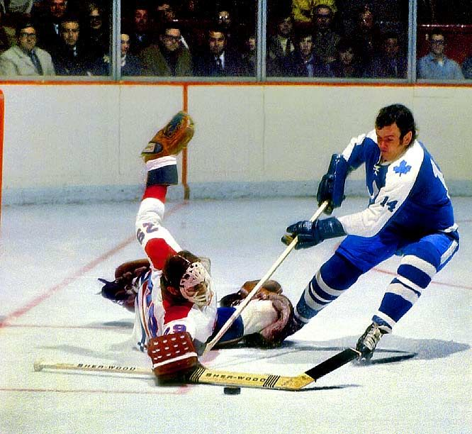 Ken Dryden foiling Dave Keon, two great players from the golden age.