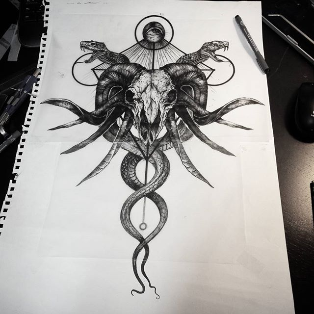 Sketch for Maxime.  #tattoo #businessforsatan #dotwork #illustration #ink…