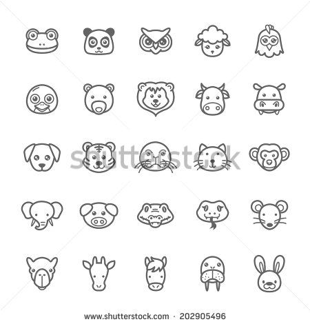 Set of Outline Stroke Animal Icons Vector Illustration - stock vector