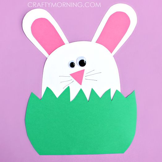 Make a bunny hiding in the grass for an easter craft! Kids will love this art project.