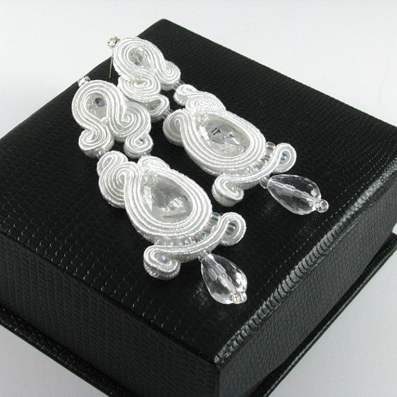 Dangle Earrings Bridal soutache earrings by byPiLLowDesign on Etsy, $79.00