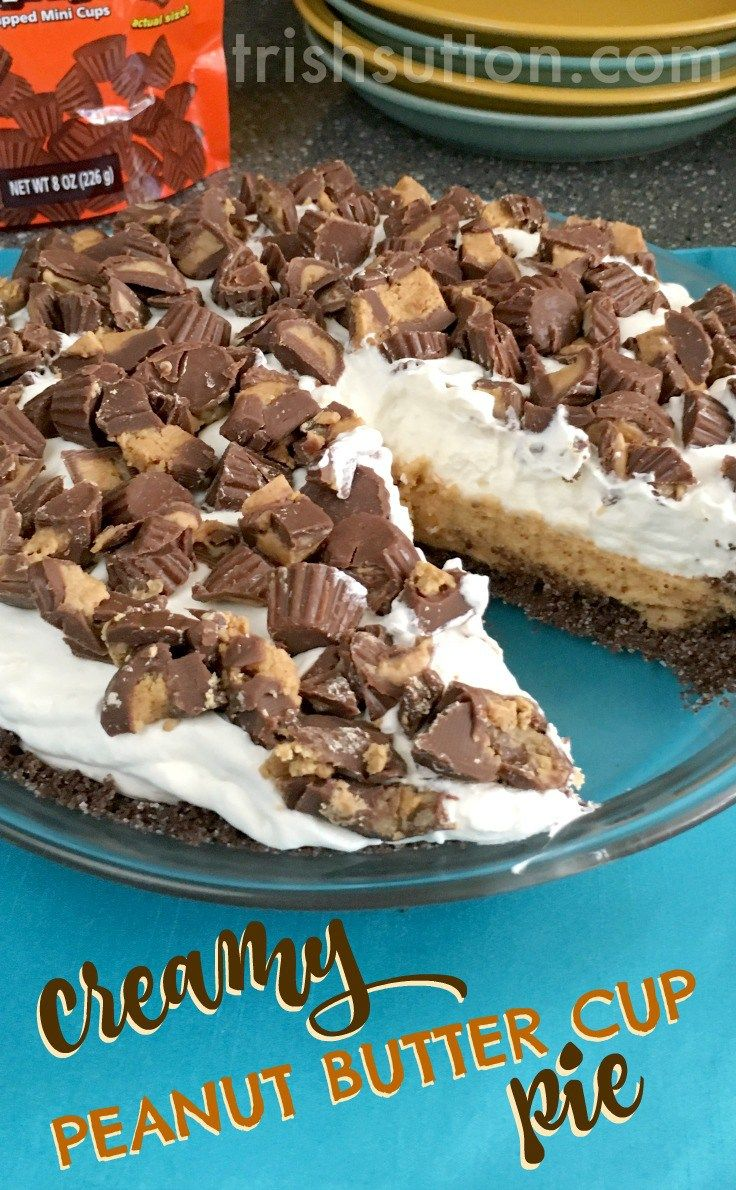 Creamy Peanut Butter Cup Pie Recipe; No Bake and perfect for all the peanut butter & chocolate lovers! Birthdays, Mother's Day, Father's Day, EVERYDAY sweet & simple dessert. By Trish Sutton