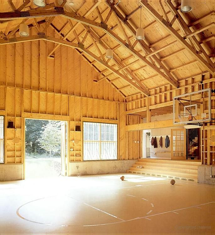 Garage basketball court how cool would this be for the for Cool pole barns