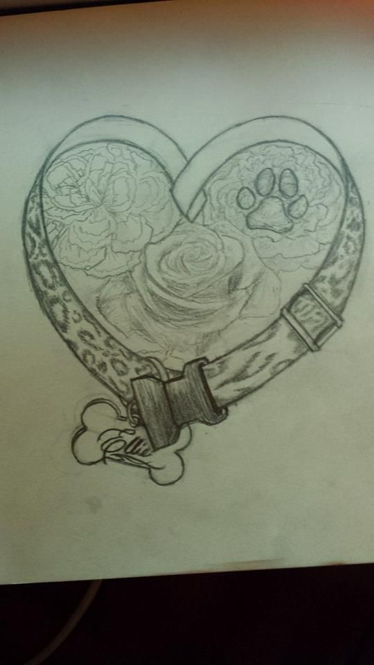 Final Sketch: Dog Memorial Tattoo Design by Nessylov3.deviantart.com on @deviantART