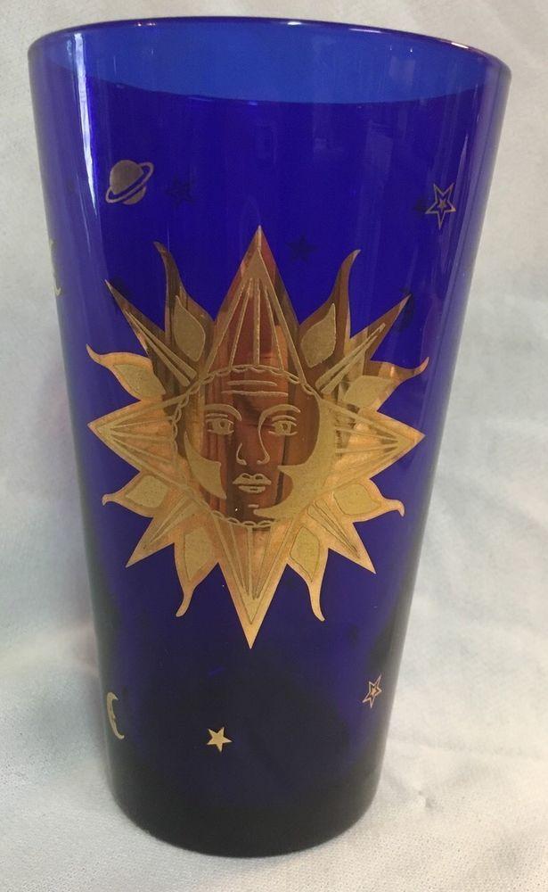 Culver Cobalt Blue Drinking Glass sun/ star 22K gold 60's / 70's  | Pottery & Glass, Glass, Glassware | eBay!