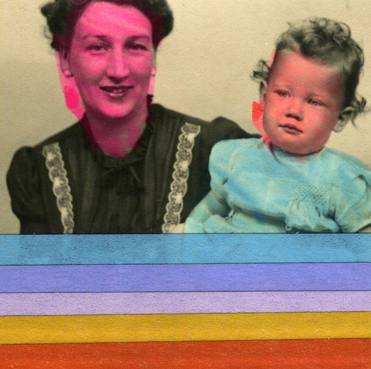 Collage Foto Di Mamma Con Neonato Vintage Decorato Con Washi Tape