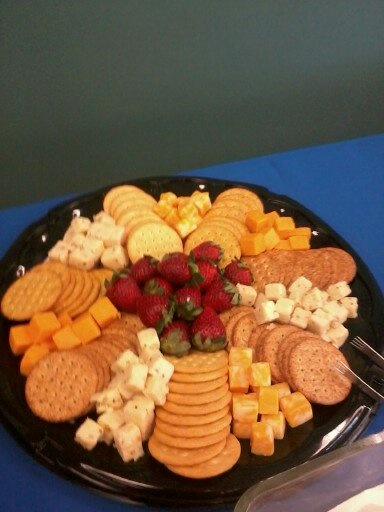 Cheese & Cracker Tray (maybe substitute a bowl of olives/gherkins/mini onions [?] for the strawbs)