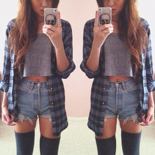 OUTFIT: blue flannel shirt, grey crop top, high-waisted denim shorts, grey over-the-knee socks. How could you not love this outfit?
