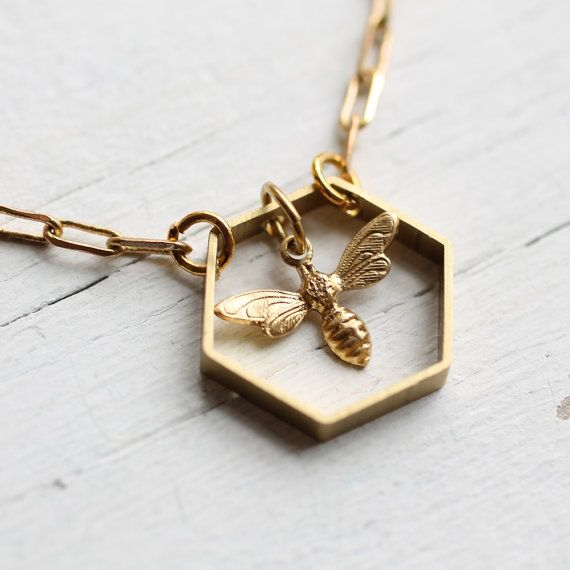 Bee Hive Necklace ... Honey Bee Honeycomb Hexagon Geometric Brass  | Call A1 Bee Specialists in Bloomfield Hills, MI today at (248) 467-4849 to schedule an appointment if you've got a stinging insect problem around your house or place of business! You can also visit www.a1beespecialists.com!