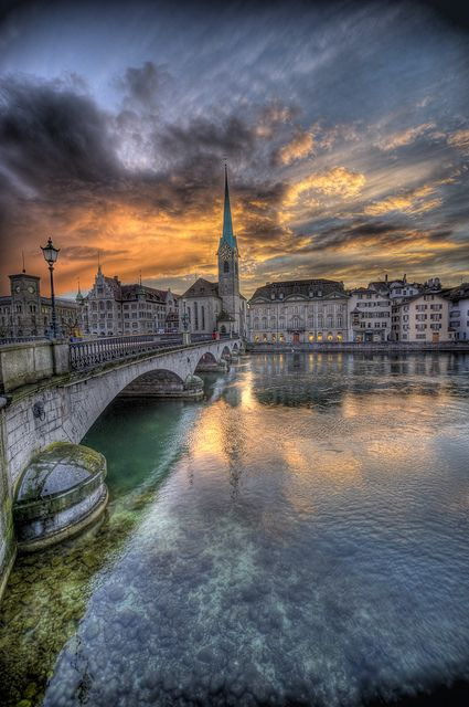 *Münsterbrücke* at Dusk   |Photo by ~Nik-On! (Very Busy)~ (Nik)  April 4 2010 Enge, Zurich,Switzerland|  [Photo in HDR]