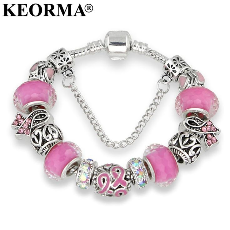 KEORMA Antique Silver bracelets for women Murano Glass Bead Crystal New Breast Cancer Awareness Pink Ribbon Charms Bracelet //Price: $15.96 & FREE Shipping //     #hashtag3