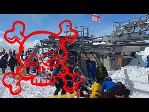 Горнолыжном Курорте Гудаури - Сломался Подъемник и Люди с Огромной скоро...