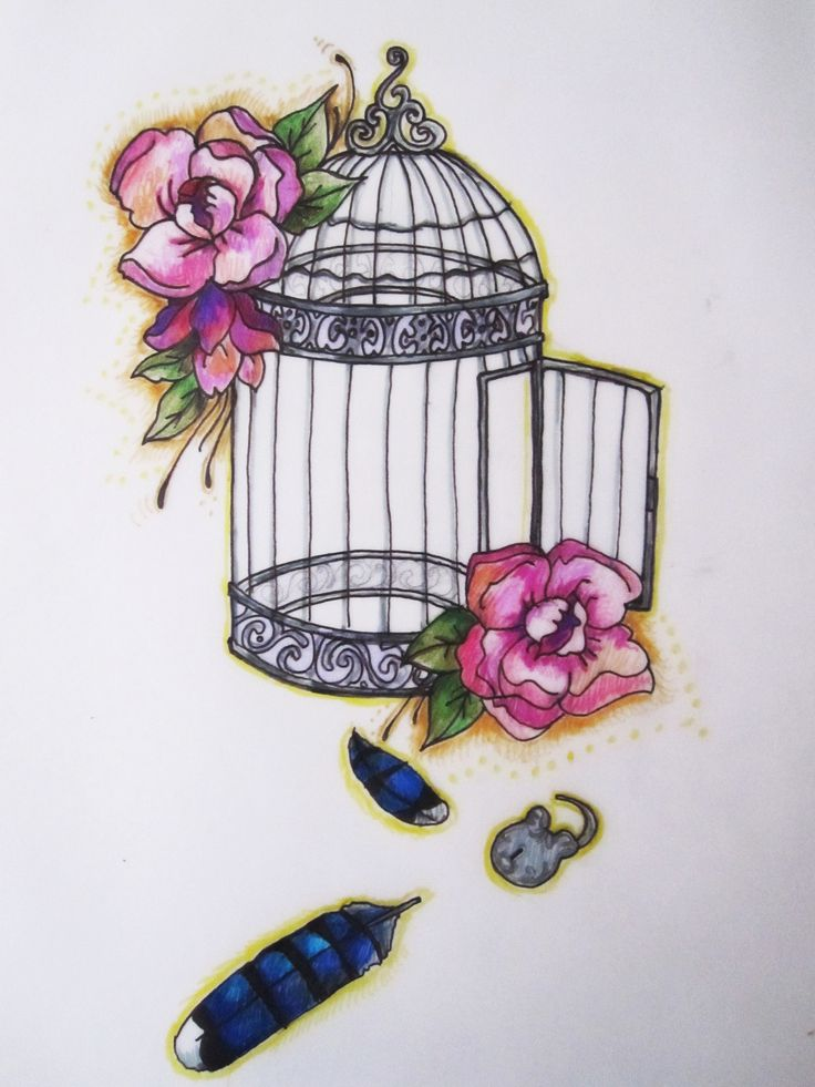 https://flic.kr/p/dKyhCe | Tattoo Commission | Completed: Bird Cage Tattoo Commission  Ink and Pencil on Paper