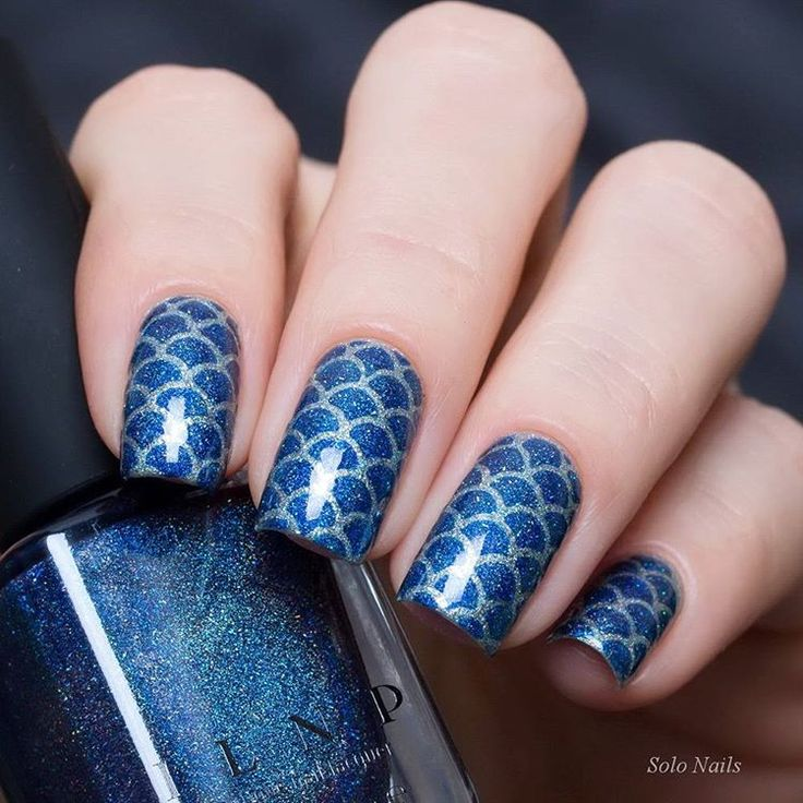 Shimmery Navy Blue and Silver Mermaid Inspired Nails