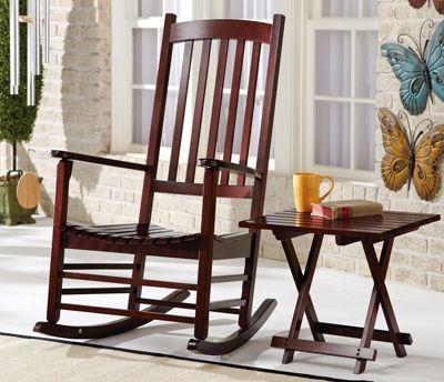 Vintage Wooden Rocking Chair In Espresso Finish