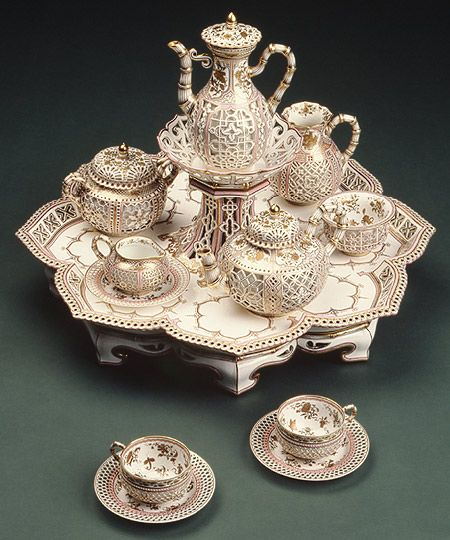 "Tea and coffee service (""Déjeuner Chinois Réticulé""), 1855–61  Sèvres Manufactory (French, 1740–present); Decorated by Jean-Marie-Ferdinand Régnier (French, active 1812–48)  Hard-paste porcelain"