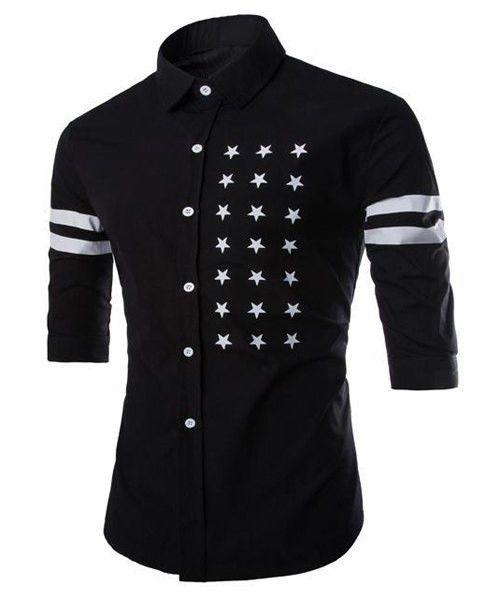 Men's Half Sleeve Black Shirt Slimming with Five-Point Star Stripe Print. Cotton-Polyester Blend.