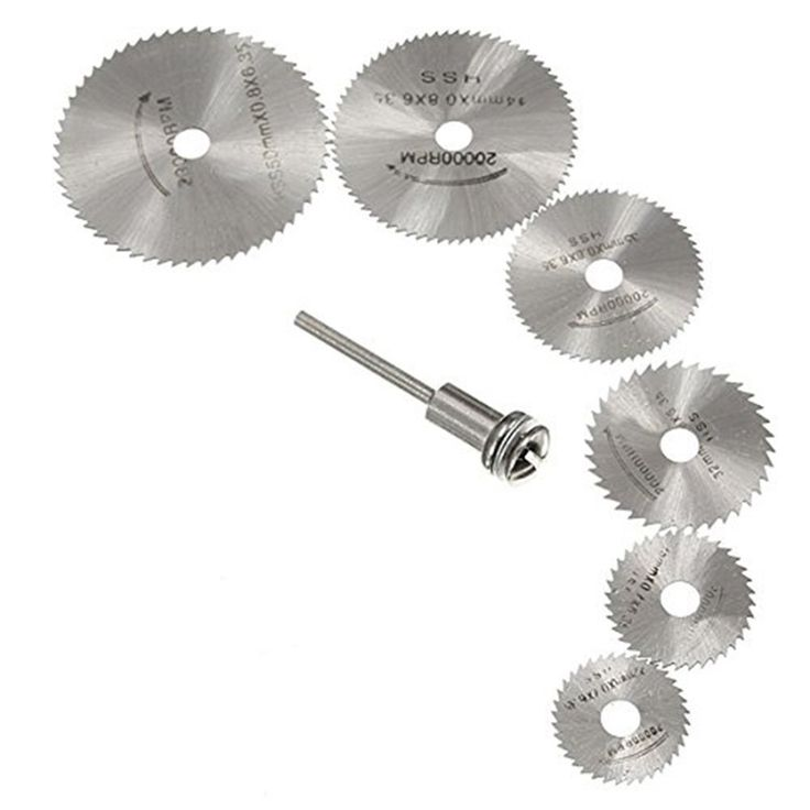 7Pcs/set HSS Rotary Tools Circular Saw Blades Cutting Discs Set High Quality Drill Mandrel Cutoff Cutter Power Tools Multitool