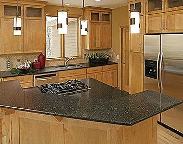 Beautiful Kitchen Countertop Materials  Love The Black Countertops And The Lighting