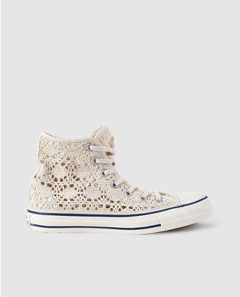 Zapatillas de lona de mujer Converse de crochet beige