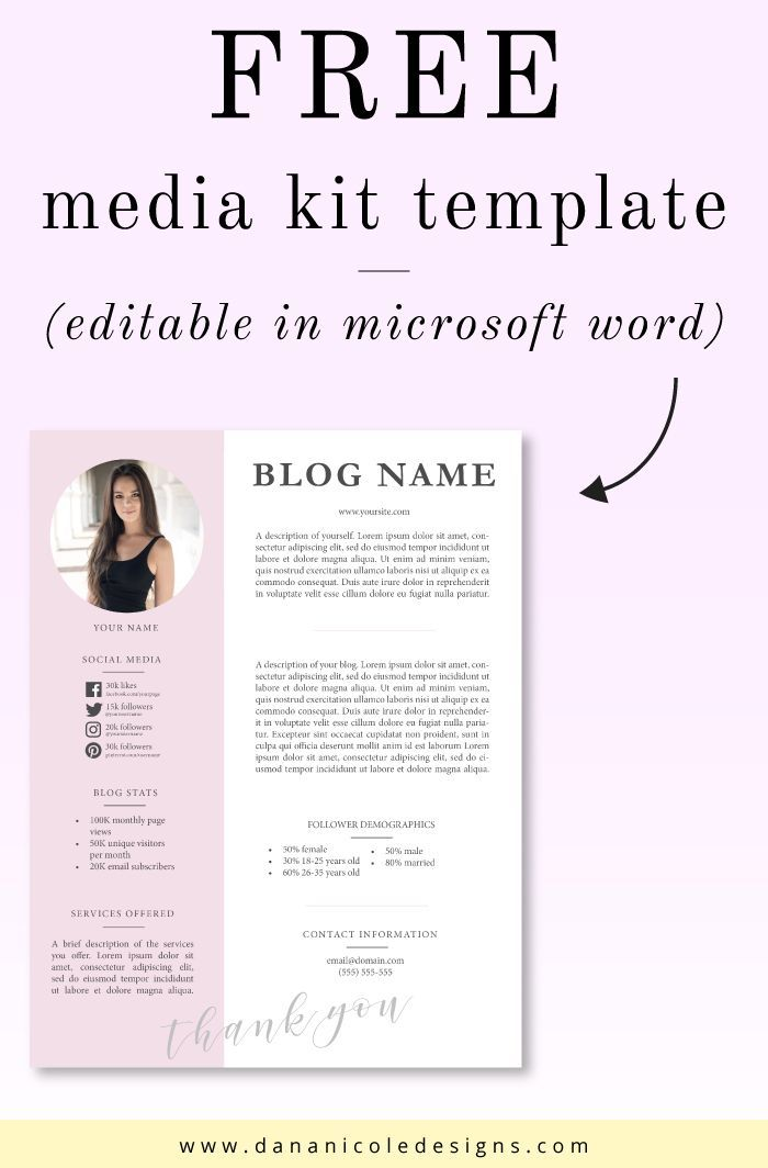One Page Media Kit Template Press Kit Template Electronic