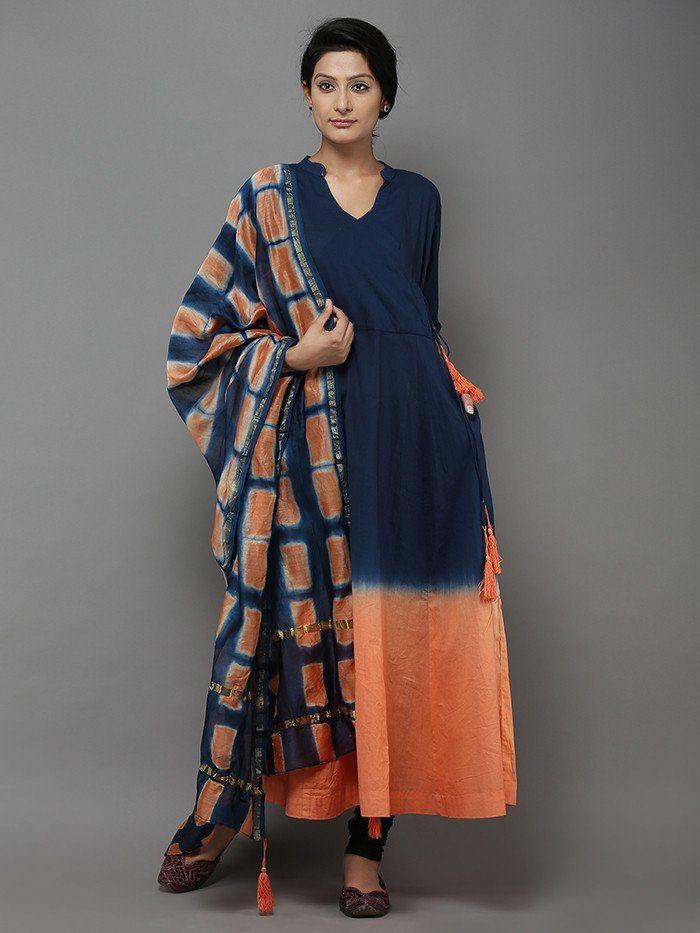 Blue Orange Cotton Angrakha Kurti with Chanderi Dupatta - Set of 2