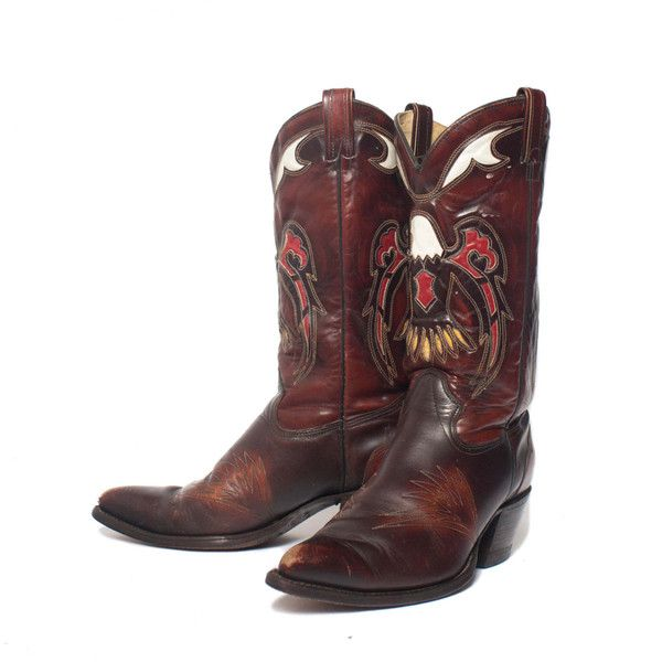 10.5 D Men's TEXAS Boot Co. Eagle Inlay Western Boots ($225) ❤ liked on Polyvore featuring men's fashion, men's shoes, men's boots, mens cowboy boots, mens boots, mens western boots, mens shoes and american eagle mens shoes