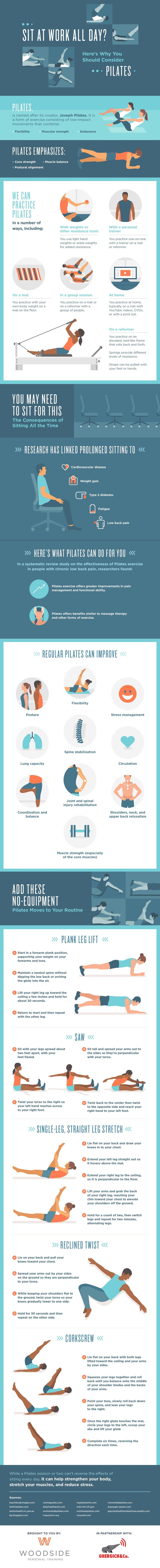 Sit at work all day? Try Pilates to fix your posture and lessen back pain. Check out the benefits of Pilates in this infographic!