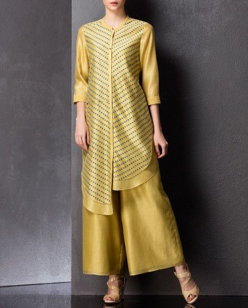 Ochre Yellow and Blue Asymmetric Tunic