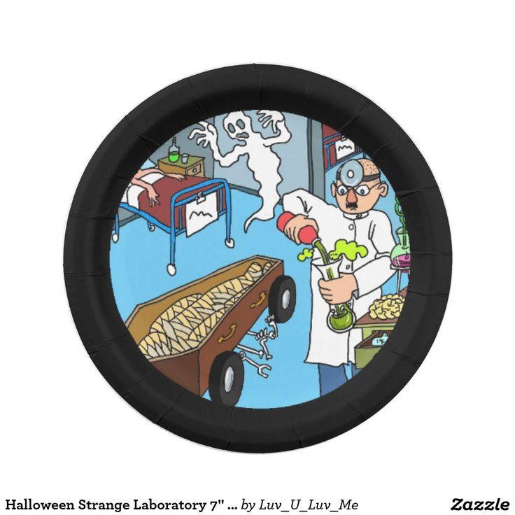 "Halloween Strange Laboratory 7"" x 7"" Paper Plate"