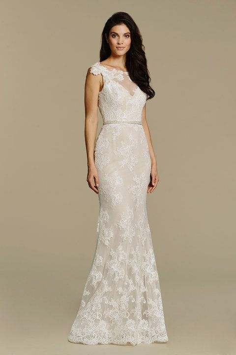 Simple Ivory Cashmere Alencon lace sheath bridal gown bateau illusion neckline with sweetheart underlay and lace detail deep V back beading at natural waist and