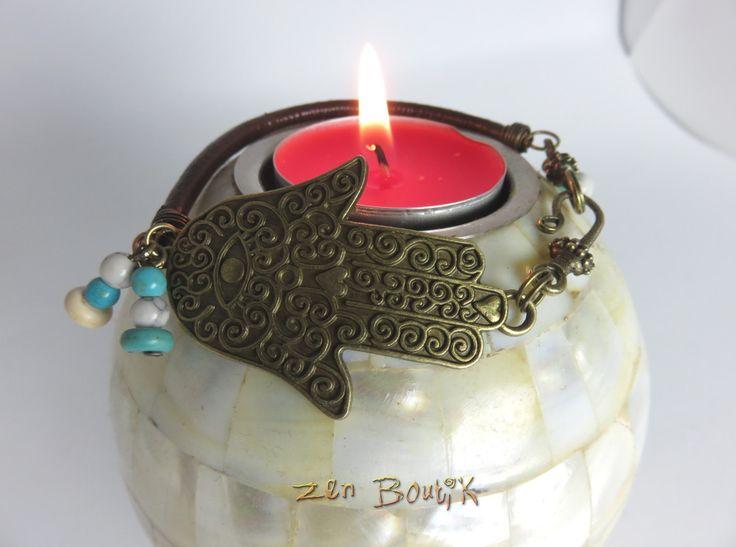 Bracelet Zen, Main de Fatma, Howlite Turquoise, Cuir véritable, Métal Bronze, Bijou Zen, Cadeau Zen, Bracelet : Bracelet par zenboutik