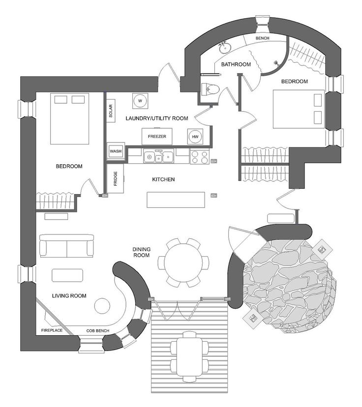 This off-grid and eco-friendly cob house has 2 bedrooms in 1,000 sq ft.   www.facebook.com/SmallHouseBliss