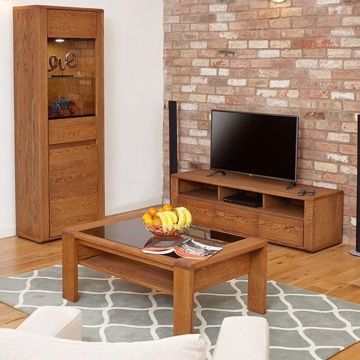 Fancy Olten Glazed Oil Oak Coffee Table with Shelf