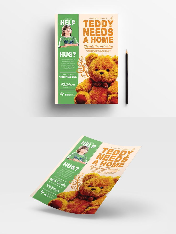 Free Children's Charity Poster Template #PSD #Photoshop #Vector #AdobeIllustrator #FlyerTemplate #BrandPacks