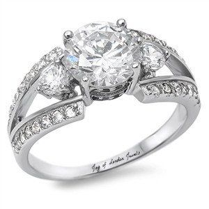 A Perfect 3CT Round Cut Russian Lab Diamond Anniversary Ring