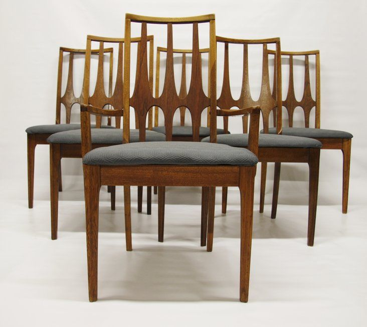 "Set of six mid-century modern Broyhill ""Brasilia"" dining chairs, newly upholstered in grey/blue. They are very striking. Normal ware and tear for an item of this age. All chairs are tight..."