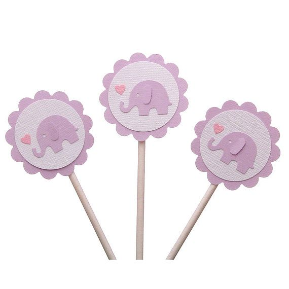 Cupcake toppers purple elephants baby shower for Baby shower cupcake picks decoration