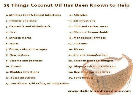 .: 25 Things, Coconutoil, Benefits Of, Coconut Oil Used, Menu, Health Benefits, Things Coconut, Coconut Oil Benefits, Healthy Living