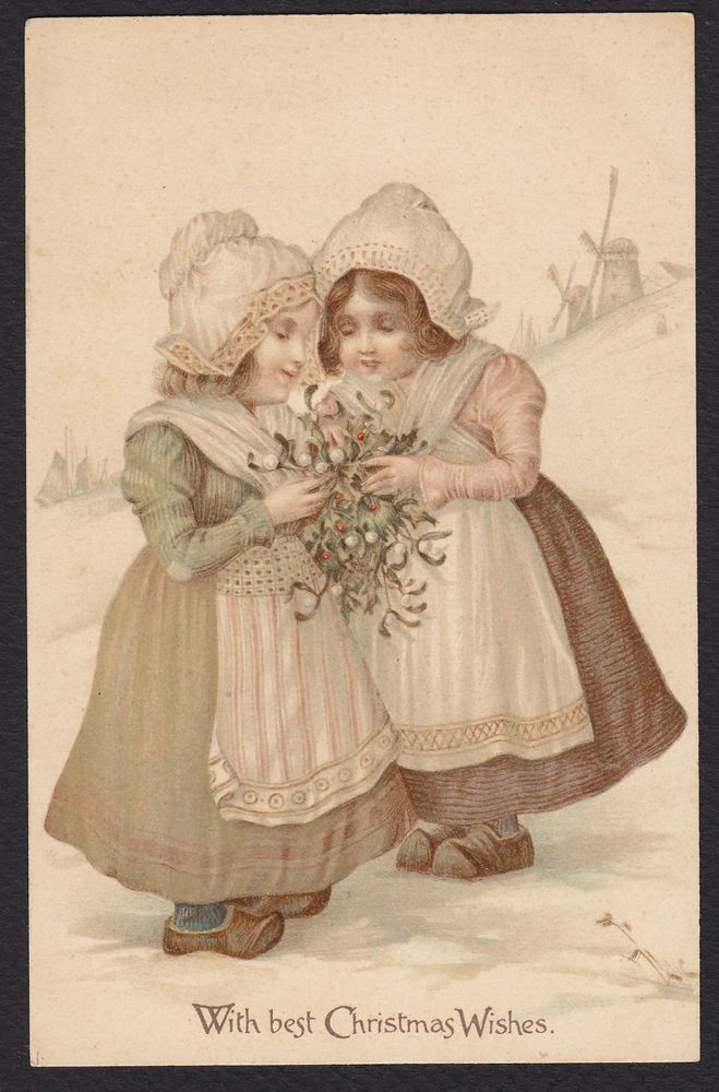Christmas-Nister-Dutch Girls-Mistletoe-Windmill-Antique Postcard #Christmas