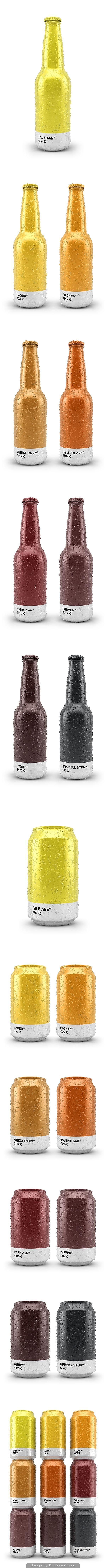Beer packaging fun. Choosing what you drink by your favorite Pantone color curated by Packaging Diva PD created via http://www.creativebloq.com/branding/beer-packaging-takes-inspiration-pantone-91412935