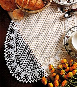 Oval simple doily with diagram