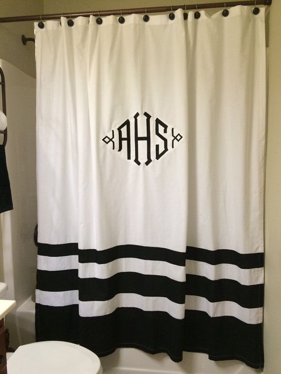 Monogram shower curtain by SpanishFortEmbroider on Etsy