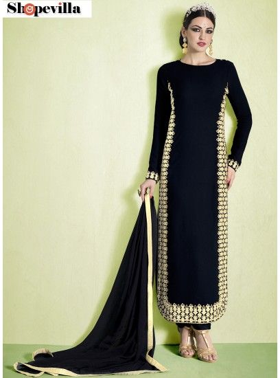 Black Colour Bhagalpuri Silk Resham Work Pant Style Suit-1011-A